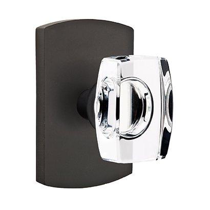 Emtek Hardware - Crystal Door Hardware - Single Dummy Windsor Door Knob with #4 Rose in Flat Black Bronze