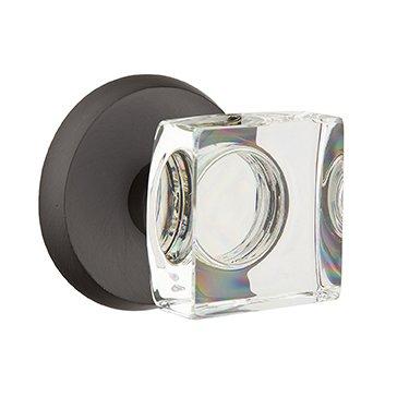 Emtek Hardware - Crystal Door Hardware - Modern Square Crystal Passage Door Knob with #2 Rose in Medium Bronze