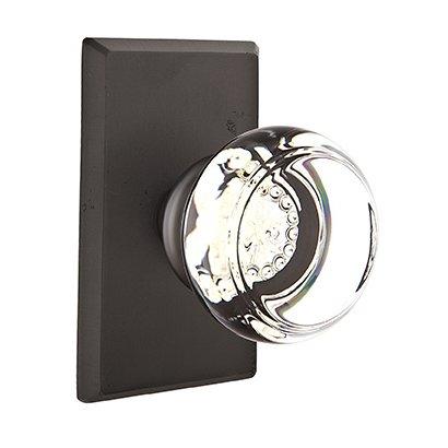 Emtek Hardware - Crystal Door Hardware - Georgetown Privacy Door Knob with #3 Rose in Medium Bronze