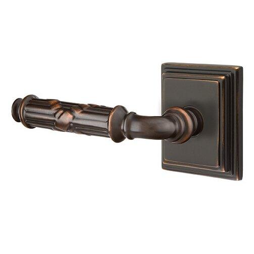 Emtek Hardware Passage Left Handed Ribbon & Reed Lever With Wilshire Rose in Oil Rubbed Bronze