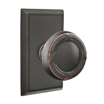Emtek Hardware Single Dummy Ribbon & Reed Knob With Rectangular Rose in Oil Rubbed Bronze