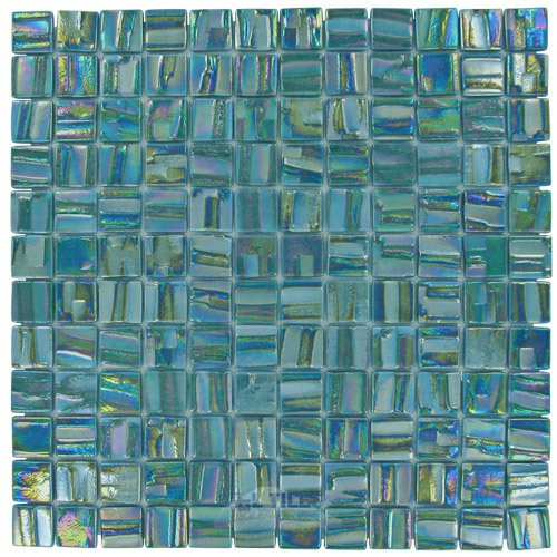 Moon 1 x 1 Recycled Glass Tile on 12 38 x 12 38 Mesh