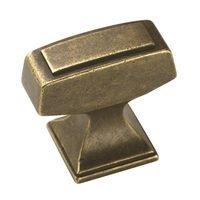 "Amerock - Mulholland - Knob 1 1/4"" x 13/16"" Rustic Brass"