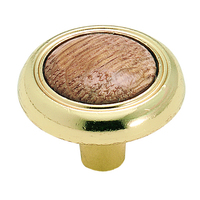 Amerock - Royal Family - Bright Brass W/ Oak Knob 1 1/4""