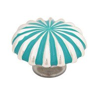 "Abstract Designs - Pinwheel Knobs - 1 1/4"" Knob in Shiny Silver with Turquoise"