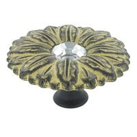 "Abstract Designs - Sunflower - 1 15/16"" Diameter Knob in Black Golden Yellow with Acrylic Center"