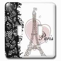 Jazzy Wallplates - Abstract - Double Toggle Wallplate With Paris Eiffel Tower With Heart And Black Lace