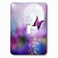 Jazzy Wallplates - Abstract - Single Toggle Wallplate With Purple Lake In The Moonlight With Butterfly