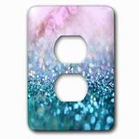 Jazzy Wallplates - Abstract - Single Duplex Outlet With Sparkling Teal Blue Luxury Shine Girly Elegant Mermaid Glitter