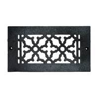 "Acorn MFG - Cast Iron Grilles & Registers - Smooth Iron Grille 8"" x 4"" with Holes in Black"