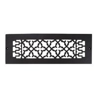 "Acorn MFG - Cast Iron Grilles & Registers - Smooth Iron Grille 14"" x 4"" with Holes in Black"
