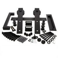 "Ageless Iron - Barn Door Hardware - 78 3/4"" Complete Barn Door Kit with Roller, Flush Pull and Grip in Black Iron"
