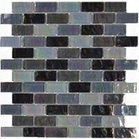"""Aqua Mosaics - Glass Mosaics - 1"""" x 2"""" Brick Ocean Mosaic in Black Blend"""