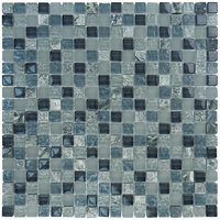 "Aqua Mosaics - Glass Mosaics - 5/8"" x 5/8"" Glass & Stone Mosaics in Steel Gray Frost Textured Stone Blend"