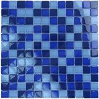 "Aqua Mosaics - Glass Mosaics - 1"" x 1"" Glass Mosaics in Cobalt Blue Blend"