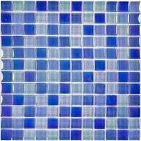 "Aqua Mosaics - Glass Mosaics - 1"" x 1"" Crystal Iridescent Mosaic in Bright Blue Blend"