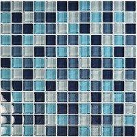 "Aqua Mosaics - Glass Mosaics - 1"" x 1"" Crystal Mosaic in Aqua Blend"