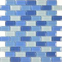 """Aqua Mosaics - Glass Mosaics - 1"""" x 2"""" Brick Crystal Mosaic in Turquoise Cobalt Blue Blend"""