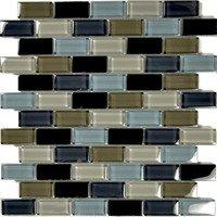 "Aqua Mosaics - Glass Mosaics - 1"" x 2"" Brick Crystal Mosaic in Black Charcoal Gray Taupe Blend"