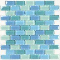 """Aqua Mosaics - Glass Mosaics - 1"""" x 2"""" Brick Crystal Mosaic in Turquoise Blue Blend"""