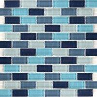 """Aqua Mosaics - Glass Mosaics - 1"""" x 2"""" Brick Crystal Mosaic in Aqua Blend"""