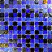 """Aqua Mosaics - Glass Mosaics - 1"""" x 1"""" Recycled Mosaic in Blue Pewter Blend"""
