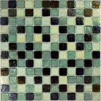 "Aqua Mosaics - Glass Mosaics - 1"" x 1"" Recycled Mosaic in Celedon Pewter Blend"