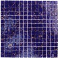"Aqua Mosaics - Glass Mosaics - 3/4"" x 3/4"" Glass Mosaics in Cobalt Blue Copper"
