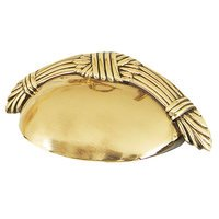 """Alno Inc. Creations - Ribbon & Reed - Solid Brass 3"""" Centers Cup Pull in Unlacquered Brass"""