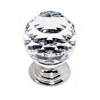 "Alno Inc. Creations - Crystal - Solid Brass 1 3/16"" Spherical Knob in Swarovski /Polished Chrome"