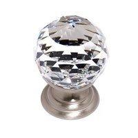"Alno Inc. Creations - Crystal - Solid Brass 1 3/16"" Spherical Knob in Swarovski /Satin Nickel"