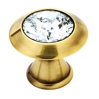 """Alno Inc. Creations - Contemporary Crystal - Solid Brass 1 1/4"""" Knob in Swarovski Crystal/Polished Antique"""