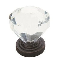 "Amerock - Luminous - 1 1/4"" Clear Acrylic Knob in Oil Rubbed Bronze"