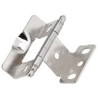 "Amerock - Full Inset Cabinet Hinges - Full Inset, Full Wrap, 3/4"" Door Thickness, Ball Tip (Sold Individually)- Sterling Nickel"