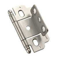 "Amerock - Full Inset Cabinet Hinges - Full Inset, Partial Wrap, 3/4"" Door Thickness, Ball Tip (Sold Individually)- Satin Nickel"