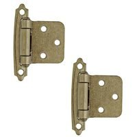 Amerock - Self-Closing Face Mount Cabinet Hinges - Self Closing Face Mount Variable Overlay Hinge (Pair) in Burnished Brass