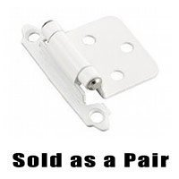 Amerock - Clearance - Self Closing Face Mount Variable Overlay Hinge (Pair) in White