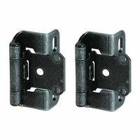 "Amerock - Self-Closing Partial Wrap Around Cabinet Hinges - Self Closing Partial Wrap 1/2"" Overlay Hinge (Pair) in Wrought Iron"