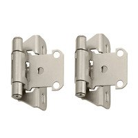 "Amerock - Self-Closing Partial Wrap Around Cabinet Hinges - Self Closing Partial Wrap 1/4"" Overlay Hinge (Pair) in Satin Nickel"