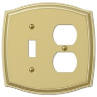 Amerelle Wallplates - Sonoma - Single Toggle Single Duplex Combo Wallplate in Polished Brass