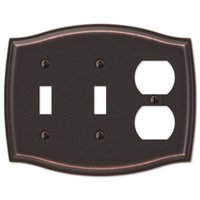 Amerelle Wallplates - Sonoma - Double Toggle Single Duplex Combo Wallplate in Aged Bronze