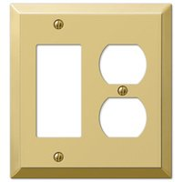 Amerelle Wallplates - Century - Single Rocker Single Duplex Combo Wallplate in Polished Brass