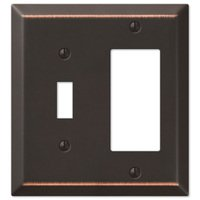 Amerelle Wallplates - Century - Single Toggle Single Rocker Combo Wallplate in Aged Bronze