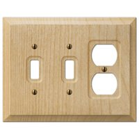 Amerelle Wallplates - Baker - Double Toggle Single Duplex Combo Wallplate in Unfinished Alder Wood