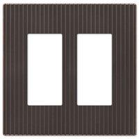 Amerelle Wallplates - Mies Screwless - Double Rocker Wallplate in Aged Bronze