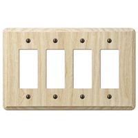 Amerelle Wallplates - Contemporary - Quadruple Rocker Wallplate in Unfinished Ash Wood