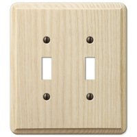 Amerelle Wallplates - Contemporary - Double Toggle Wallplate in Unfinished Ash Wood