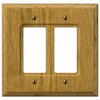 Amerelle Wallplates - Carson - Wood Double Rocker Wallplate in Light Oak