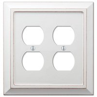 Amerelle Wallplates - Savannah - Wood Double Duplex Wallplate in Distressed White