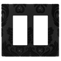 Amerelle Wallplates - Damask - Double Rocker Wallplate in Black